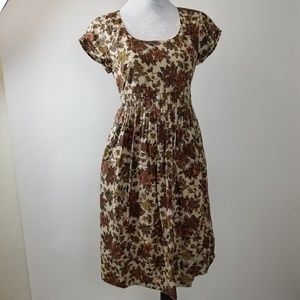Garnet Hill brown floral Fit & Flare Size 6